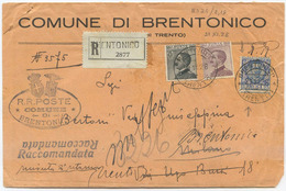 1928 FLOREALE L. 1,25  VARIETÀ DENT. ORIZZ. SPOSTATA MISTA MICHETTI C. 20+30 BUSTA RACCOM. 21.11.28 (8024) - 1900-44 Vittorio Emanuele III