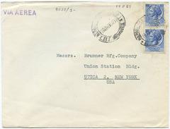 1959 SIRACUSANA L. 60 COPPIA ISOLATA SU BUSTA 19.8.59 TARIFFA LETTERA 1° AEREA PER USA (8022) - 6. 1946-.. Repubblica