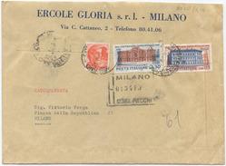 1961 UNITÀ L. 30 + 110 BUSTA TARIFFA LETTERA 2° RACCOMANDATA (8020) - 1961-70: Marcophilia