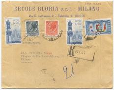1959 LOURDES L. 60x2 + EUROPA L. 25 BUSTA TARIFFA LETTERA 2° RACCOMANDATA (8017) - 1946-60: Marcophilia