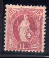 """1199 - SUISSE  N°78 *  1Fr Lie De Vin  Helvetia  """"debout """"    TB"""