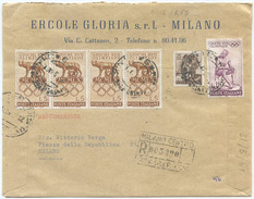 1960 OLIMPIADI L. 5x4 + 110 BUSTA TARIFFA LETTERA 2° RACCOMANDATA (8018) - 1946-60: Marcophilia
