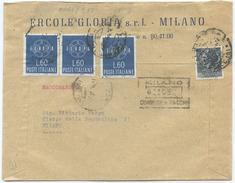 1959 EUROPA L. 60 X 3 BUSTA TARIFFA LETTERA 2° RACCOMANDATA (8016) - 1946-60: Marcophilia