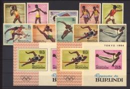 Burundi  :  Yv  102-11  +  Blocs 5-5a  **    Sport  ,  JO Tokyo