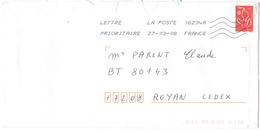 FRANCIA - France - 2008 - Timbre Marianne De Lamouche Rouge - Viaggiata Da 16234A Per Royan, France