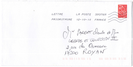 FRANCIA - France - 2010 - Timbre Marianne De Lamouche Rouge - Viaggiata Da 39376A Per Royan, France