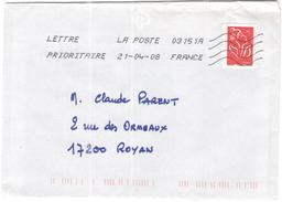 FRANCIA - France - 2008 - Timbre Marianne De Lamouche Rouge - Viaggiata Da 03151A Per Royan, France