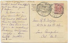 1914 NATANTE COLICO – COMO 1 (A) 13.7.14 ANNULLO D.C. CARTOLINA BELLAGIO X U.S.A. OTTIMA QUALITÀ (A886P)