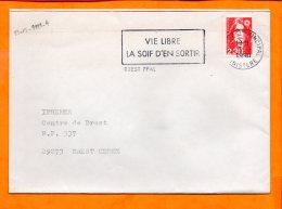 FINISTERE, Brest, Flamme à Texte, Vie Libre La Soif D'en Sortir - Oblitérations Mécaniques (flammes)