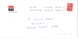 FRANCIA - France - 2008 - Timbre Marianne De Lamouche Rouge - SG Private Banking - Viaggiata Da 18740A Per Royan, France