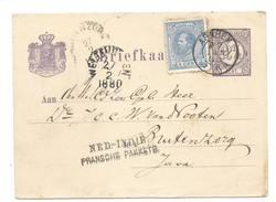 Nederland 1880 Briefkaart Cijfer Met Nr.19 Arnhem-Ned.Indie. - Periode 1852-1890 (Willem III)