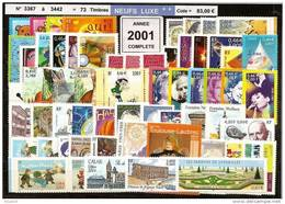 FRANCE - Année Complète 2001 - NEUF LUXE ** 73 Timbres - SUPERBE