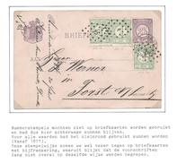 Nederland 1884 Briefkaart Cijfer Met 3x Nr.31 En Puntstempel Tegen Voorschrift