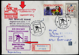 764-CZECHOSLOVAKIA Cover-with Imprint World Ice Hockey Championships The Organizing Committee Qualification Group A 1992