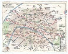 Plan De Metro Paris Et Sa Banlieue Par Les Autobus Et Le Metro - Rame Sprague - Chemin De Fer Métropolitain De Paris - Europe