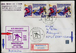 767-CZECHOSLOVAKIA Cover-with Imprint World Ice Hockey Championships,qualification PINK COLOR Group A 1992