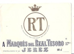 étiquette  - 1940/80 - Marqués Del Real Tesoro JEREZ - Vino Blanco