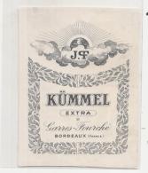 étiquette -1900/1930 - KUMEL EXTRA   Gares Fouchet - Bordeaux - Whisky