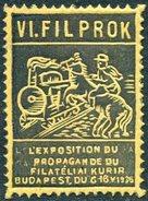 Hungary Ungarn 1936 Exposition Poster Vignette Railway Eisenbahn Chemin De Fer TRAIN Steam Locomotive Zug HORSE Rider **