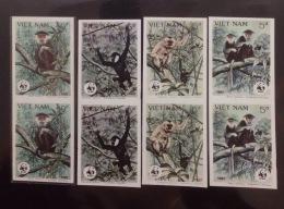 02 Sets Of WWF W.W.F. Vietnam Viet Nam MNH Imperf Stamps 1987 : Monkey / Gibbon (Ms522)