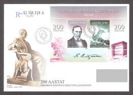 Estonia 2003  Sheet FDC REGISTERED Mi BL20 Kreutzwald Author Of The Estonian Epic, Kalevipoeg), 200th Anniv