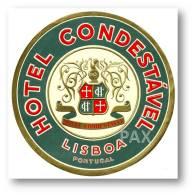 LISBOA - HOTEL CONDESTÁVEL ( 11,0 X 11,0 Cm ) - PORTUGAL - VINTAGE LUGGAGE LABEL - 2 SCANS - Etiquettes D'hotels