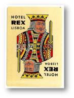 LISBOA - HOTEL REX( 6,1 X 9,0 Cm ) - PORTUGAL - VINTAGE LUGGAGE LABEL - 2 SCANS - Etiquettes D'hotels