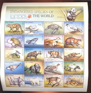 MINT NEVER HINGED M/ SHEET OF ENDANGERED SPECIES OF THE WORLD ; HONG KONG '97 ( GAMBIA   1870**
