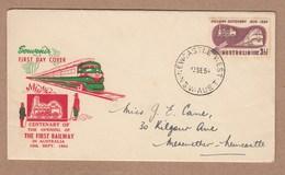 Australia FDC 1954 Centenary Opening Of First Railway In Australia - Postally Used