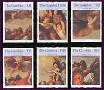 MINT NEVER HINGED STAMPS OF CHRISTMAS ( GAMBIA   1840-5