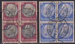 Block Of 4 Used ., President Hindenburg, Germany,'Deutsches Reich' 1932, 1933 Postmark, Postmarks