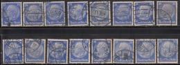 25pf X 16 Used 1932 Shades Varities, Postmark Etc., President Hindenburg, Germany,'Deutsches Reich'