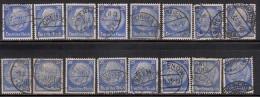 25pf X 16 Used 1932 Varities, Postmark Etc., President Hindenburg, Germany,'Deutsches Reich'