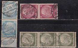 25pf Pairs 1933 Varities, Postmark Etc., President Hindenburg, Germany,'Deutsches Reich'