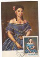 MAXIMUM CARD PAINTING , ROMANIA,MISU POPP(1827-1892)- YOUNG IN BLUE