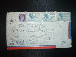LETTRE Par AVION Pour EGYPTE (HELIOPOLIS) TP 7c X3 + TP 4c OBL.MEC. MONTREAL + OBL.MEC.16 VI 1957 MONTREAL P.Q.