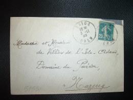 LETTRE TP SEMEUSE 25c  OBL.3-11-22 SAIDA ORAN + OBL. Tiretée FLINOIS ORAN Pour Mr Mme De Villiers De L'Isle-Adam DOMAINE - Marcophilie (Lettres)