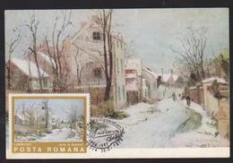 MAXIMUM CARD PAINTING , ROMANIA,I.ANDRESCU WINTER IN BARBIZON