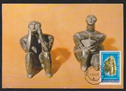 MAXIMUM CARD SCLUPTURE ROMANIA -Thinker FROM CERNAVODA-CONTANTA AND  SITTING WOMEN