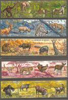 BURUNDI . 1971 . Y&T N° 434 à 453 Oblitérés . Bandes De 4. Lion, Hippo, Girafe, Singe, Eléphant, Panthère