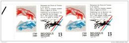 7441      BELGIQUE  PHILEXFRANCE  89  BICENTENAIRE DE LA REVOLUTION FRANCAISE  1 PAIRE  TIMBRES + 1 VIGNETTE NEUF. + BDF