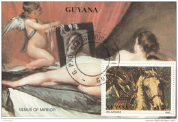 2299 Guyana 1990 Dipinti Diego Rodriguez VELAzQUEZ  Uomo A Cavallo Stile Barocco  Painting
