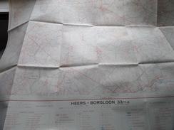 Belgie Stafkaart HEERS - BORGLOON 33/7-8 - 1/15.000 - 1956 ! - Europe