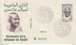 Enveloppe FDC  1er  Jour   MAROC  Centenaire   Naissance  Du  Mahatma   GANDHI    1969