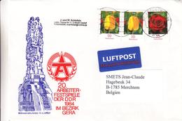 République Démocratique - Lettre De 1984 -  Oblit Briefzentrum - Fleurs - Tulipes - Roses