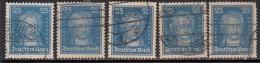 25pf X 5 Diff,, Paper, Shades, Etc 1926 Used Reich, Goethe, Writer, Statesman, Poet,