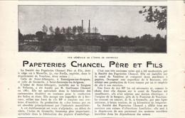 1926 - Iconographie Documentaire - Saint-Saturnin-lès-Avignon (Vaucluse) - La Papeterie Chancel - FRANCO DE PORT - Vieux Papiers