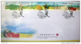 FDC Taiwan 2000 Weather Stamps- Summer Season Watermelon Grain Waterwheel Insect Farm