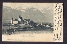 CPA SUISSE - AIGLE - Le Château - TB PLAN EDIFICE Vue Générale Village CP Voyagée 1902 TAMPON AIGLE Verso + AMBULANT - VD Vaud