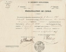 956/24 - Document  BELGIQUE 1845 - ANVERS  Prolongation De Congé Soldat Hansenne à THIMISTER - 3è Régiment De Ligne - Documents Historiques